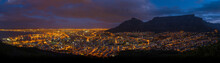 Table Top Mountain Night View Over Cape Town