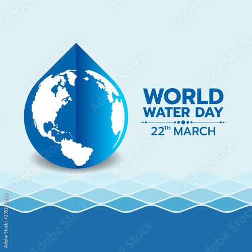 World water day banner with circle world map in blue water drop sign world water day banner with circle world map in blue water drop sign on water wave gumiabroncs Gallery