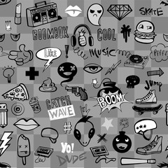 Tapeta Seamless pattern with Hipsters teens doodles