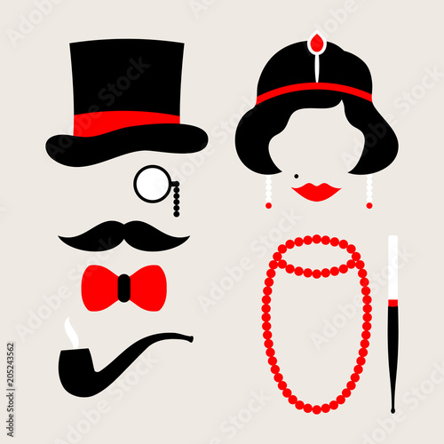 Leinwand Poster Man & Woman 20s Red/Beige