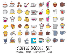 Hand Drawn Sketch Doodle Vector Line Color Icons Collection Of  Coffee Icon Set On White Background Eps10