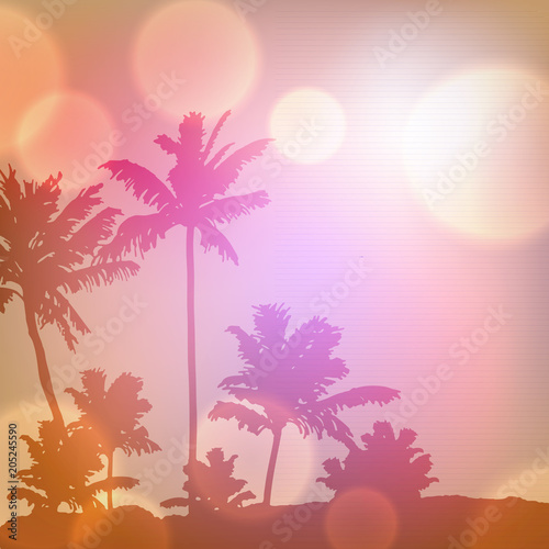 Canvas Prints Countryside Sea sunset with island and palm trees. EPS10 vector.