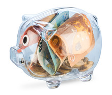 Transparent Piggy Bank Filled ...