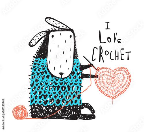 Fototapeta premium Urocza owieczka szydełkująca serce. Ilustracji wektorowych.