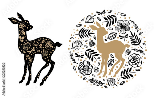 Silhouette of little sweet baby deer, fawn with flower pattern in the floral circle Wallpaper Mural