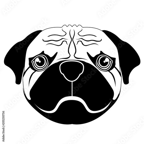 Fotobehang Draw Silhouette of a pug avatar