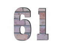 61 Number. Decorative Red Brick Wall Texture. English Style. White Isolated