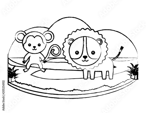 Tuinposter Doe het zelf sketch of cute tiger and monkey on the grass over white background, vector illustration