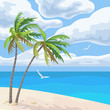 Seaside Landscape with Palm Trees and Clouds