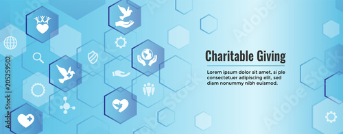 Fotografia Charity and relief work - Charitable Giving Web banner with icon set