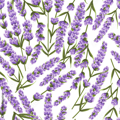 seamless pattern of purple lavender flowers, watercolor style flowers Fototapet
