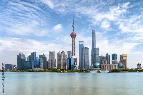 Photo Stands Shanghai Das Zentrum Pudong von Shanghai, China, mit den modernen Gebäuden und Wolkenkratzern