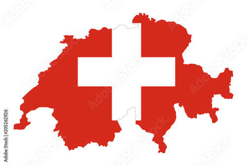 Flag Of Switzerland In Country Silhouette Landmass And Borders As