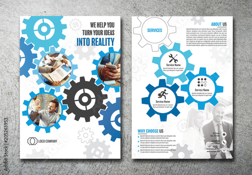 flyer layout with gear shaped elements buy this stock template and