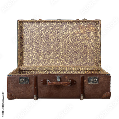 Fotografiet Retro suitcase with the lid open isolated on white background.