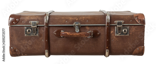 Fototapeta Retro suitcase isolated on white background