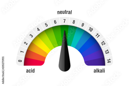 pH value scale meter for acid and alkaline solutions, acid-base balance infograp Canvas Print