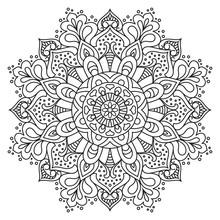 Vector Flower Mandala For Coloring Book