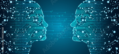 Fototapeta Big data, artificial intelligence, machine learning in online dating in form of women and men face outline outline with circuit board and binary data flow on blue background. obraz