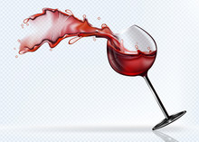 A Glass Of Red Wine Splashing ...