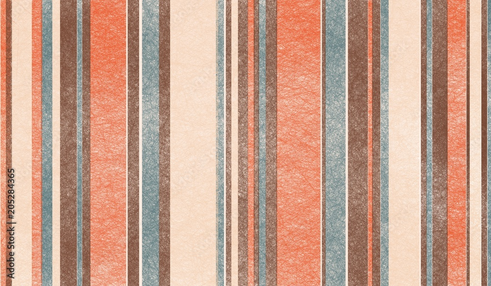 retro color palette background design with abstract thin and thick striped vertical lines with rough texture in brown orange beige and blue vintage color tones