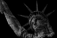 Patriotism And USA Landmark Concept With A Typographic Portrait Of The Statue Of Liberty With A Word Cloud Made Of The Words Of The National Anthem And America, American, Give, Tired, Poor, Brave, Etc