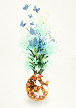 Pineapple. Watercolor Design Element, Bacground.