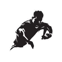 Rugby Player Running With Ball, Team Sport Logo. Isolated Vector Silhouette