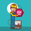 worker 404 error page not found laptop technology vector illustration