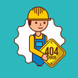 construction worker holding sign 404 error vector illustration
