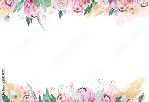 Hand drawing isolated watercolor floral illustration with protea rose, leaves, branches and flowers Wallpaper Mural