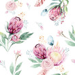 Leinwanddruck Bild Hand drawing watercolor floral pattern with protea rose, leaves, branches and flowers. Bohemian seamless gold pink patterns prorea. Background for greeting wedding card.