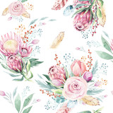 Hand drawing watercolor floral pattern with protea rose, leaves, branches and flowers. Bohemian seamless gold pink patterns prorea. Background for greeting wedding card. - 205299972