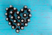 Heart Shaped Still Life Of Capped Beer Bottles