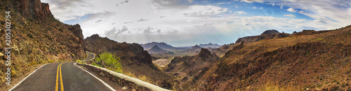 Spoed Fotobehang Route 66 ROUTE 66 - OATES, SITGREAVES PASS IN BLACK MOUNTAINS, ARIZONA / CALIFORNIA - PANORAMA - AERIAL VIEW. DRONE SHOT.