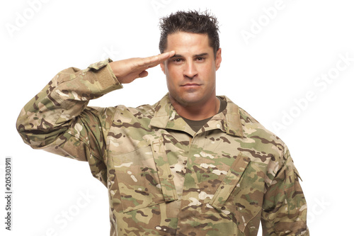 Fotografiet Army soldier saluting