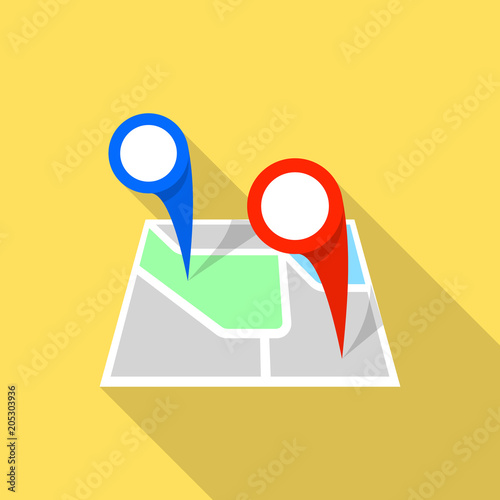 Double map pin icon. Flat illustration of double map pin vector icon on