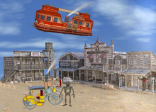 3D Illustration Of Old Western Steam Punk Scene