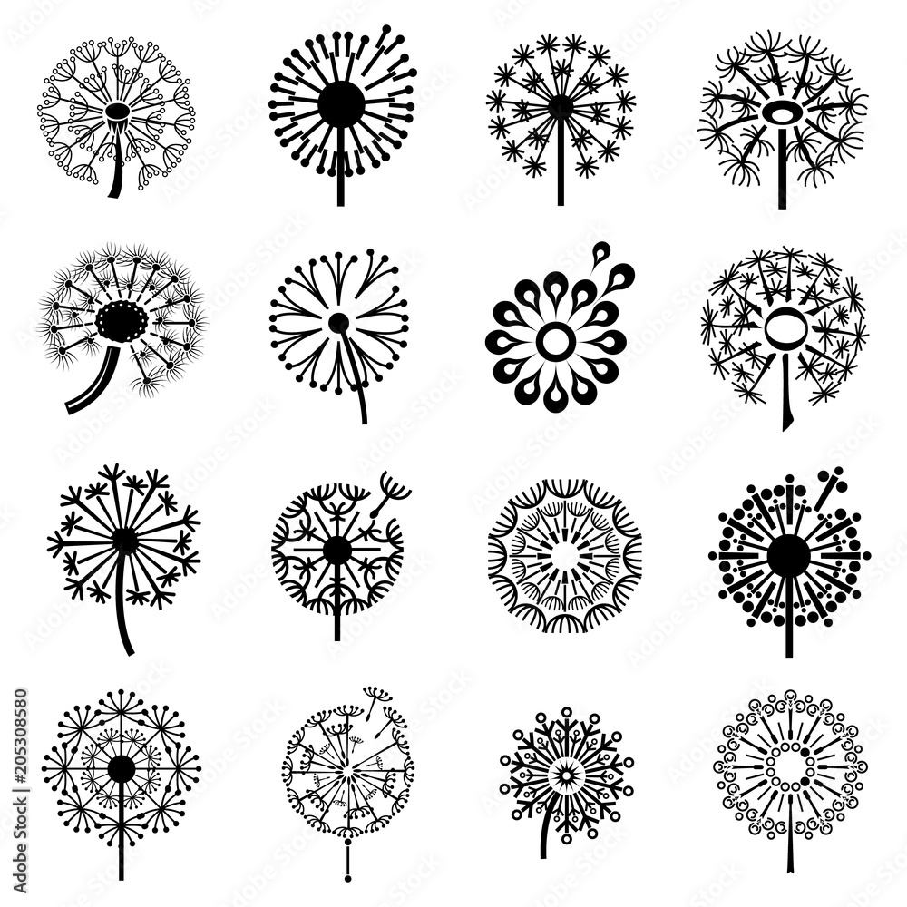 Fototapety, obrazy: Logo with dandelion icons set. Simple illustration of 16 logo with dandelion vector icons for web