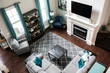 Modern Colorful Teal Gray Living Room Interior Home