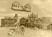 3D Sepia Tone Illustration Of Old Western Steam Punk Scene