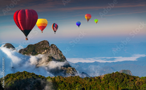 In de dag Ballon Aerial view colorful hot air balloons flying over with the mist at Doi Luang Chiang Dao with morning mist in Chiang Mai, Thailand..