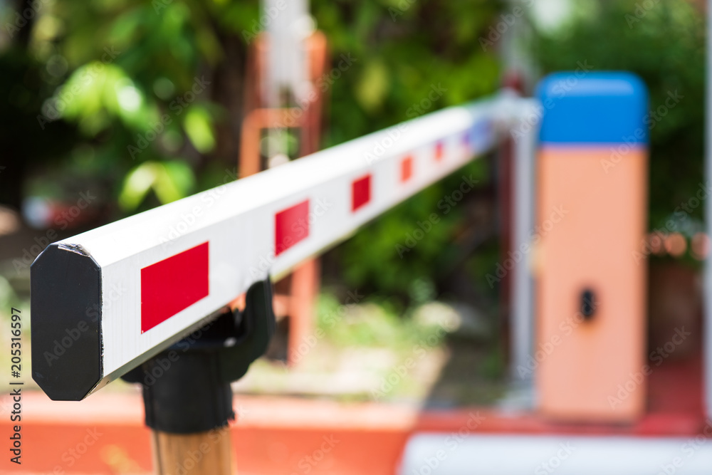 Fototapeta Close up Barrier Gate Automatic system for security. Automatic entry system.