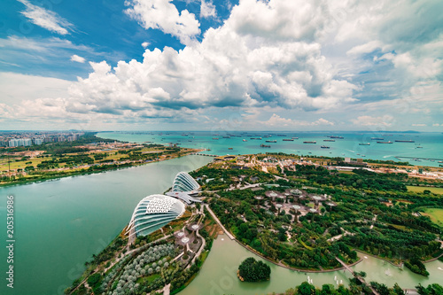 In de dag Singapore Aerial Panoramic View of Singapore City and Port under wonderful blue sky