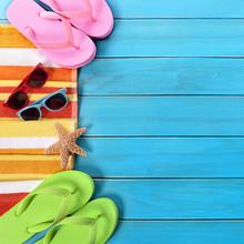 Summer Beach Objects Border, Sunglasses, Flip Flops, Copy Space