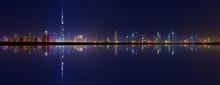 Dubai Towers Panoramic View At Night