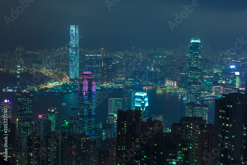 Photo  Cyberpunk Hong Kong view the island and Kowloon city