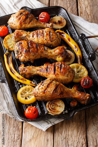 Delicious food: grilled chicken drumstick legs with