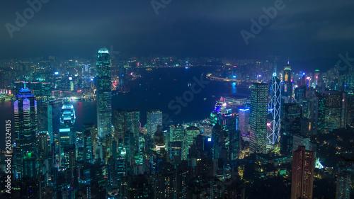 Spoed Foto op Canvas Nachtblauw Cyberpunk Hong Kong view on Victoria Bay