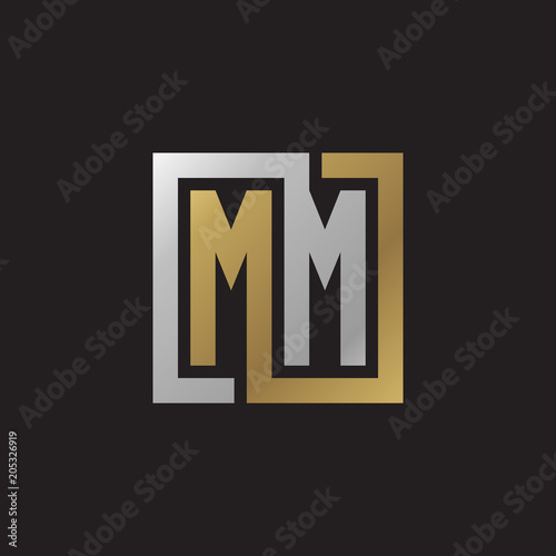 Poster Initial letter MM, looping line, square shape logo, silver gold color on black b